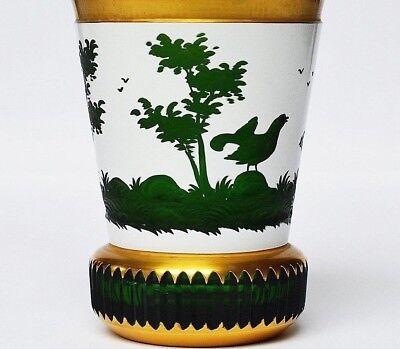 Hochwertiges Ranftglas Überfangglas geschliffen geätzt vergoldet Böhmen Höhe13cm gebraucht kaufen  Trier