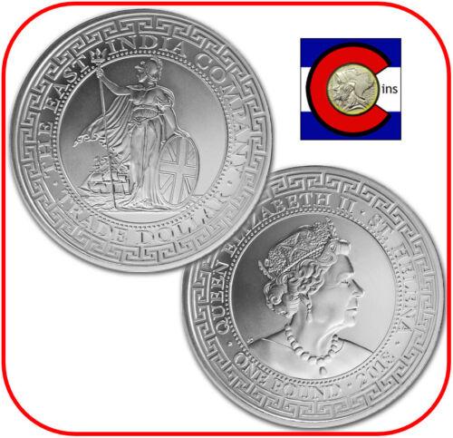 2018 St. Helena East India 1 oz Silver British Trade Dollar BU in capsule