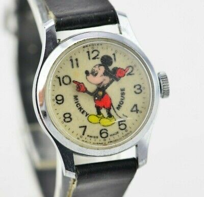 F510 Vintage Disney Mickey Mouse Mechanical Swiss Made Watch Needs Repair 135.1