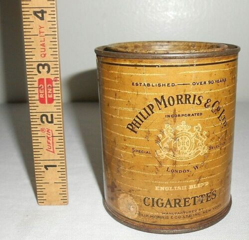 VINTAGE PHILIP MORRIS ENGLISH BLEND CIGARETTE HUMIDORPAC ROUND TIN CAN