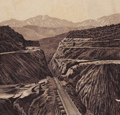 Cajon Pass 1890s California Southern Railroad Train Photo-Lith Coffee Trade Card