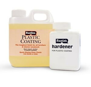 RUSTINS 1L PLASTIC COATING AND HARDENER GLOSS CLEAR CURE LACQUER FOR WOOD 1LTR
