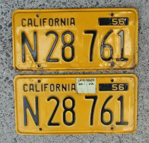1956 California Yellow and Black Truck License Plates Pair CA Vintage Original