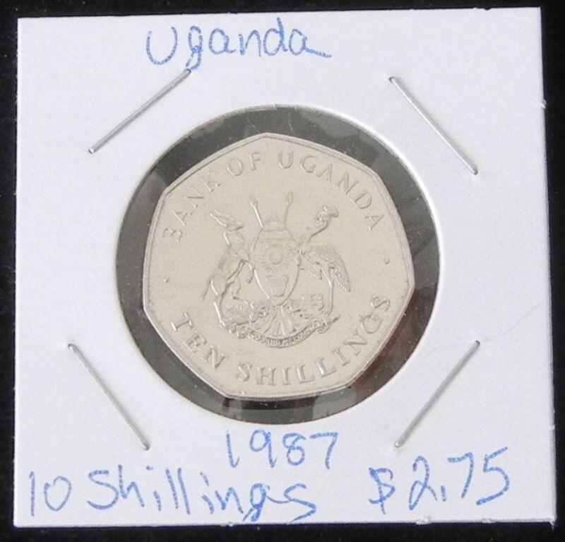 BEAUTIFUL TWO COIN SET ~ 2 BRILLIANT UNCIRCULATED UGANDA 1987 10 SHILLINGS COINS