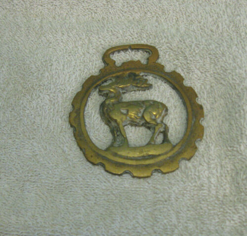 Vintage Stag Brass Horse Medallion Harness Ornament