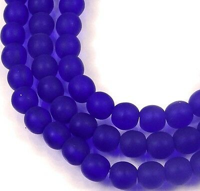 100 Czech Frosted Sea Glass Round Beads - Matte - Cobalt 4mm