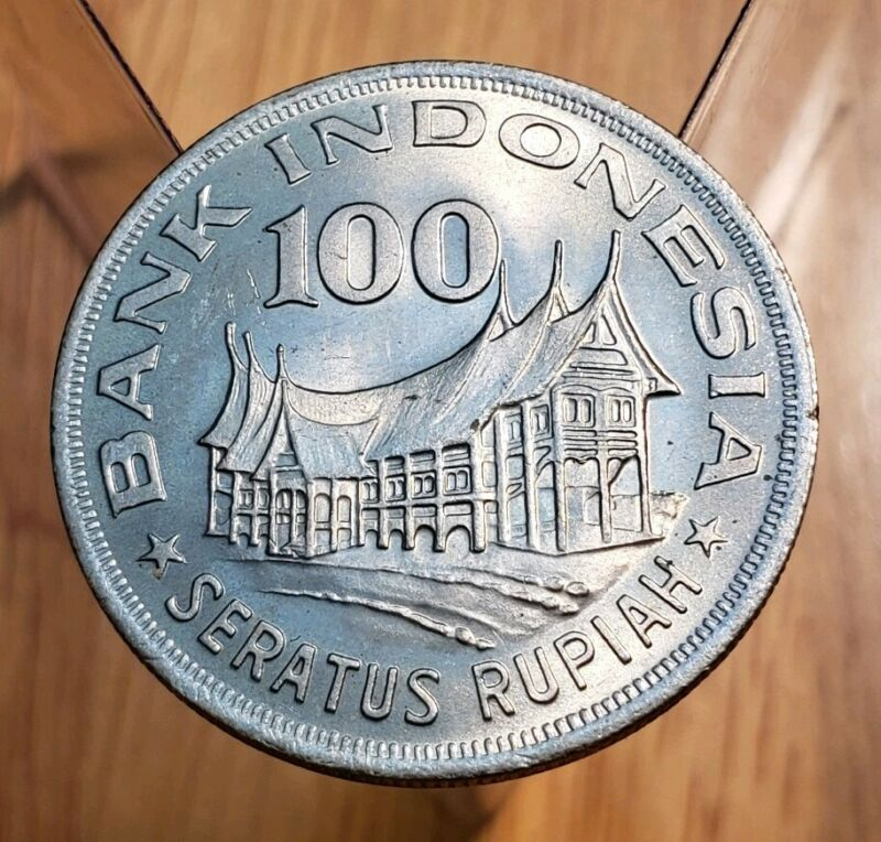 1978 INDONESIA 100 RUPIAH Minangkabu House BU UNC World Coin