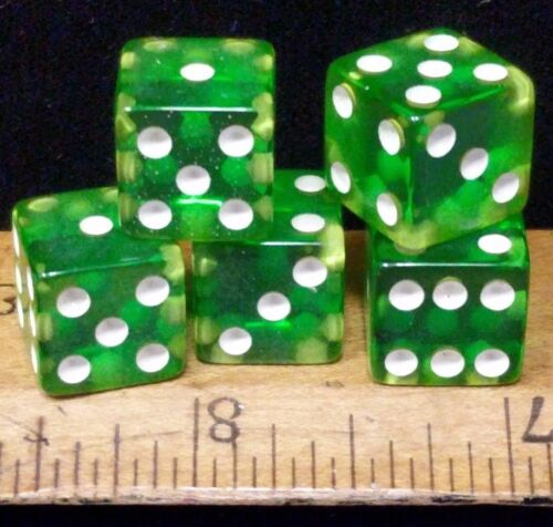 """Vintage Crisloid cheater GREEN Lucite dice.5 dice 1/2"""" (random matching numbers)"""