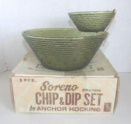 Vtg Anchor Hocking Soreno Avocado Green Glass Chip & Dip Set w Brass Bracket IOB