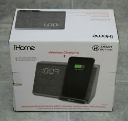 iHome iBTW39G Bluetooth Dual Alarm Clock with Wireless Charging - Gunmetal