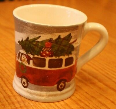 SWEET NEW MAGENTA CHRISTMAS TREE VW CAMPER BUS DOG MUG RAE DUNN MAKER GIFT