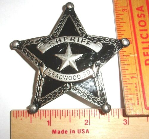 """""""Sheriff Deadwood"""" badge vintage collectible old West Southwestern cowboy pin"""