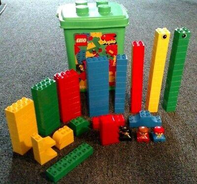LEGO DUPLO 1844 BUILDING BRICKS BUCKET 90 + 9 MORE EXTRA PIECES VINTAGE 1996