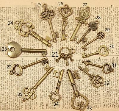 15Pcs Antique Vintage Old Look Bronze Skeleton Keys Fancy Heart Bow Pendant