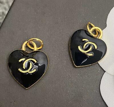 Set Of 2 Stamped CHANEL Heart Black Enamel Gold Metal Zipper Pull 15mm
