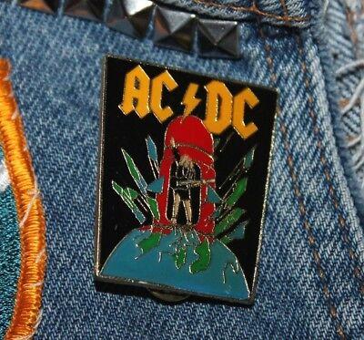 NOS vtg 80s 1988 licensed AC/DC enamel pin * for shirt jacket hat metal punk  (80 Punk)
