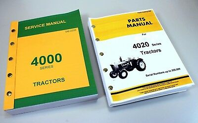 Service Manual For John Deere 4020 4000 Tractor Technical Parts Catalog Repair