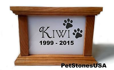 Pet Urn Memorial Cremation Box Cherry Wood White Stone Engraved Dog Cat Bunny