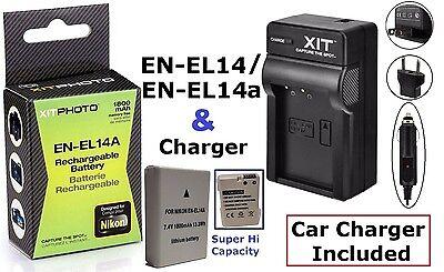 Li-Ion Hi-Cap EN-EL14a Battery & 110/220V Charger for Nikon D3100 D3200 D3300