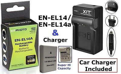 Hi-Capacity Lithium Ion Battery Pack With Charger for Nikon D3100 D3200 D3300 for sale  Shipping to India