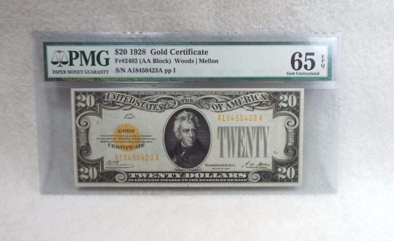 Series of 1928 $20 Gold Certificate Note PMG  65 Gem Uncirculated EPQ  Fr#2402