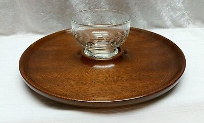 VINTAGE HAND TURNED MAHOGANY CHIP AND DIP SET