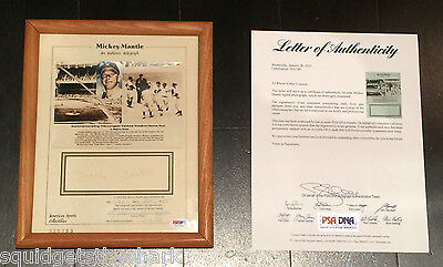 Mickey Mantle Autographed photo w COA LOA from PSA/DNA #X01749, framed (Autograph Frame)