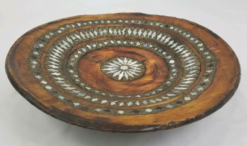 Vintage Hand Carved Wood Bowl with Mother Of Pearl Brass Inlay Pakistan Folk Art
