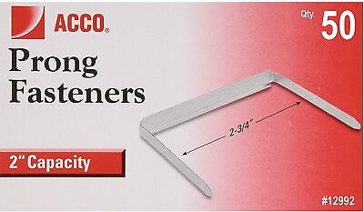 Acco Standard Two-piece Paper Fastener 2 Capacity 2.75 Center To Center 50 Pcs