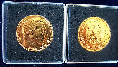 5 Reichsmark GOLD  24 Karat hochwertig vergoldet 1935-1936 Mark+++