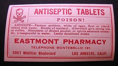 VTG Antiseptic Tables Poison Eastmont Gummed Back Paper Label Pharmacy Rx