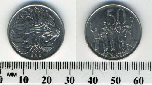 Ethiopia 2008 (EE2000) - 50 Cents Nickel plated Steel Coin - Lion Head - People