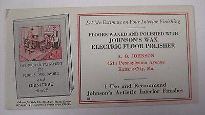 Vintage 1940's Johnson's Wax Electric Floor Polisher Ink Blotter  Kansas City MO