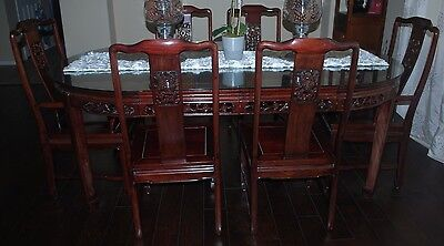 """SOLID ROSEWOOD ORIENTAL OVAL DINING TABLE SET 80"""" x 44"""" PRE-OWNED"""