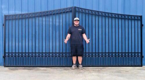 Custom Built Driveway Entry Gate 16 Ft Wide.  Double Swing Driveway Gate.steel**