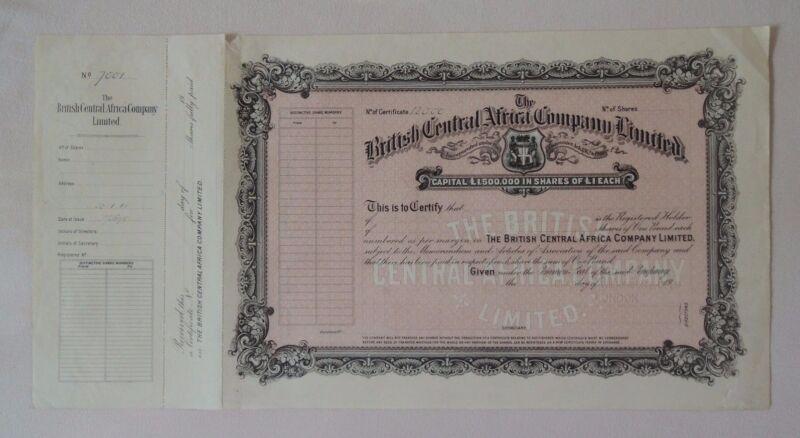British Central Africa C° share 1918 Bradbury Specimen coat of arms railroad GB