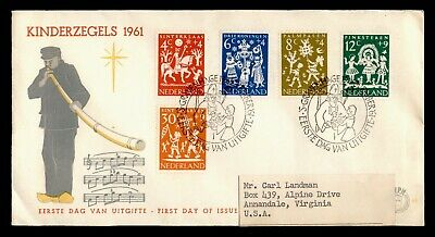 DR WHO 1961 NETHERLANDS FDC HOLIDAY FOLKLORE SEMIPOSTALS  C242611