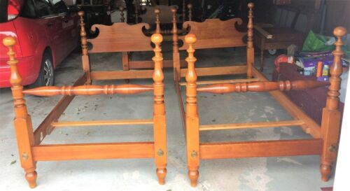 Pair of Antique Signed Stickley Solid Cherry Colonial Style Twin Beds