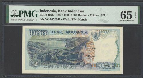 Indonesia 1000 Rupiah  1992  P129b Uncirculated Graded 65