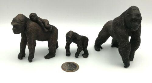 Schleich GORILLA SILVERBACK FAMILY Male Baby Female 2011 Ape Animal Figures