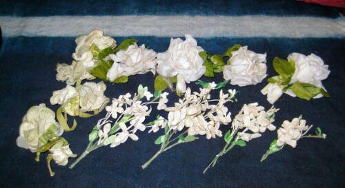 11 FRENCH MILLINERY Flowers, Hat, Trim,  VINTAGE & Antique LOT, White VELVET