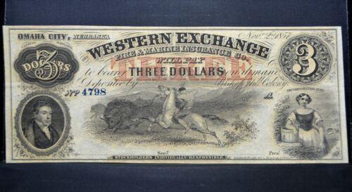 1857 WESTERN EXCHANGE $3 OBSOLETE BANK-NOTE ✪ OMAHA NE ✪ AU REMAINDER ◢TRUSTED◣