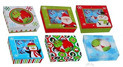 6 Pc Cupcake Cookies Candy Gift Bakery Box Container w/ Clear Window Christmas - Bulk Cupcake Boxes