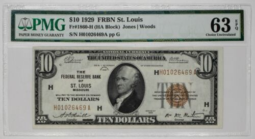 1929 $10 FEDERAL RESERVE BANK NOTE ST LOUIS FR#1860-H PMG 63 CHOICE UNC EPQ 469A