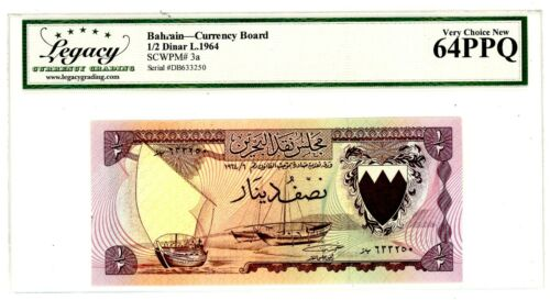 Bahrain ... P-3a ... 1/2 Dinars ... L.1964 ...  Choice *UNC* .. 64 PPQ.