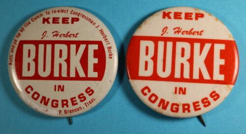 J. HERBERT BURKE Political Pins - US House Representative Congress South Florida