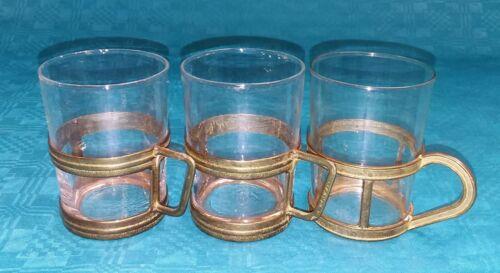 Teegläser 3 Stück mit Messinghaltung Punschglas Glühwein Glas E 340