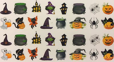 Nail Art Water Decals Halloween Scary Witch Hat Ghost Spider Black Cat Pumpkin - Scary Halloween Nails