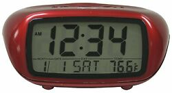 31039 Equity by La Crosse Digital Alarm Clock with Indoor Temperature - Red