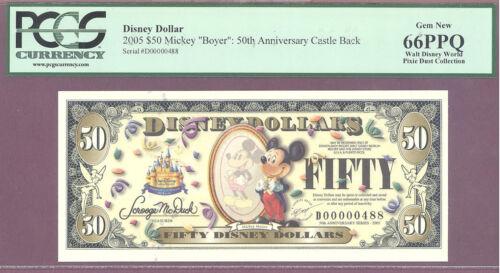 """VERY RARE"" 2005 $50 Disney Dollars MICKEY IN MIRROR""BOYER"" 50TH PCGS 66 PPQ GEM"